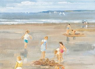 Le château de sable, peinture à l'huile