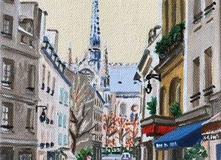 La flèche de Notre-Dame peinture à l'huile