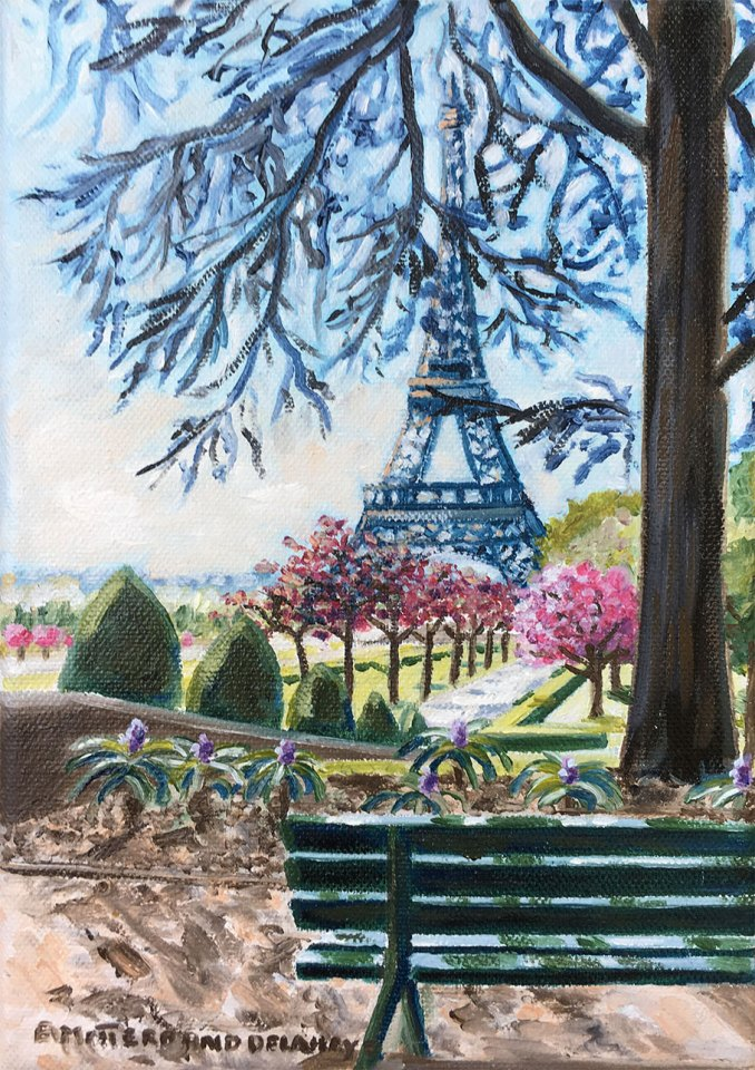 Oil-painting-of-Eiffel-Tower-and-a-bench-by-Edwige-Mitterrand-Delahaye