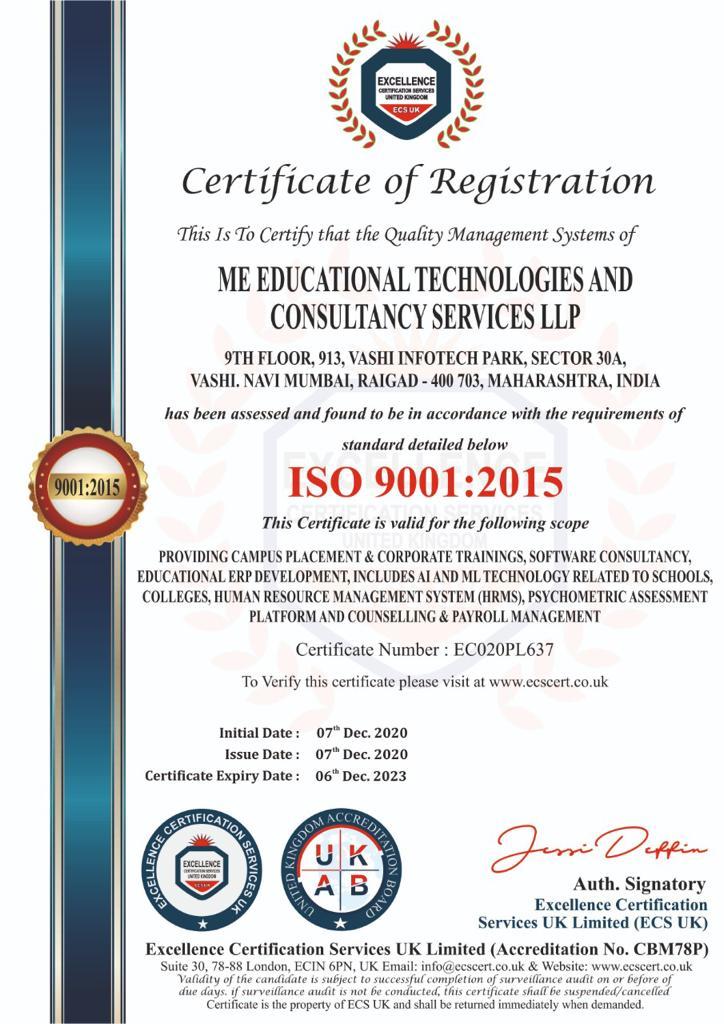 Certificate of Registration ME Education