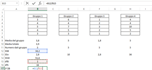 One way anova test in Microsoft Excel: calcolo S^2B