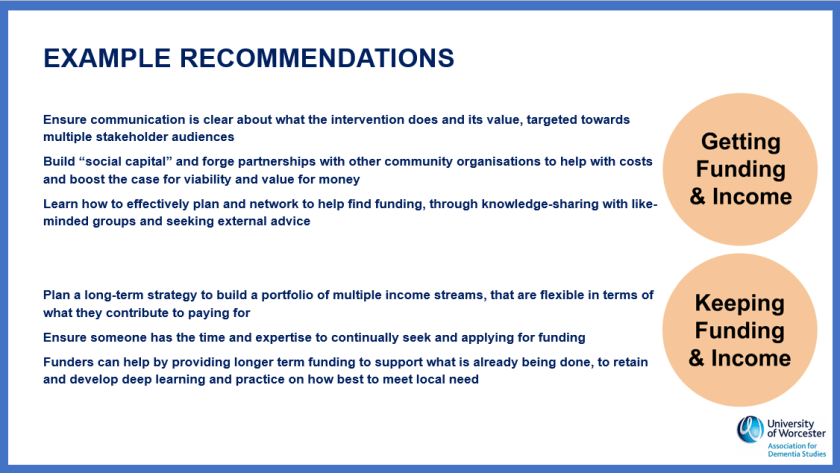 Recommendations around funding and income
