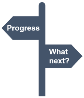 Image showing a signpost with 'progress' on one sign and 'what next?' on the other