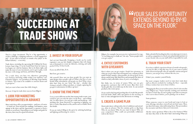 Two page spread of BCA Insider