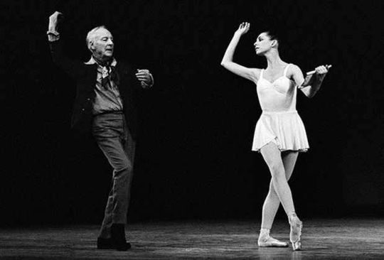 George Balanchine rehearsing Stephanie Saland in Apollo; choreography by George Balanchine © The George Balanchine Trust. Photo by Paul Kolnik