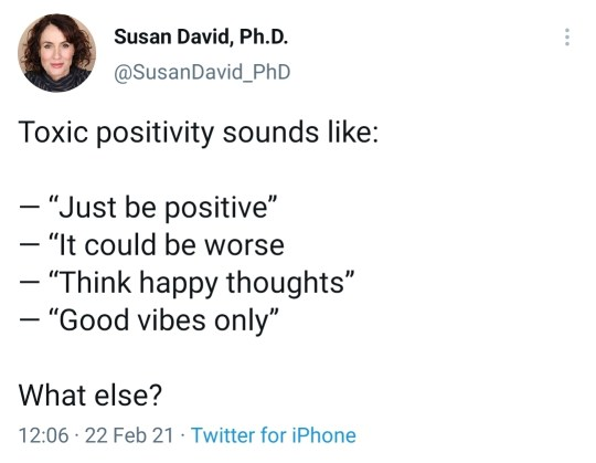 Tweet by Susan David, Ph.D on Toxic Positivity