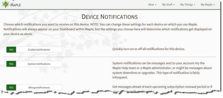 Device Notifications page