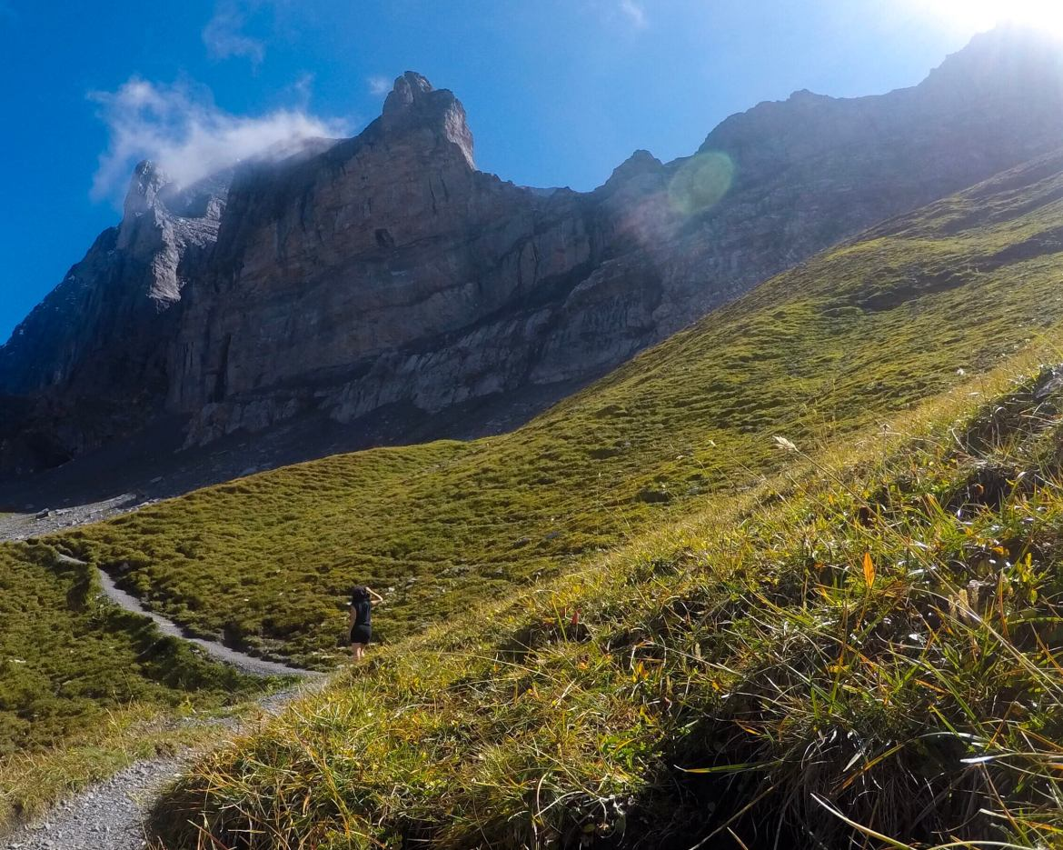Walking the eiger trail in the shadow of the north face of eiger. one of the Bernese Alps, in Switzerland