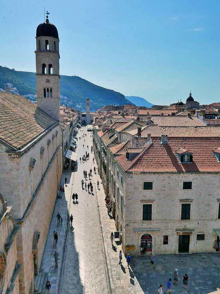 The main street inside of Dubrovnik Old Town image taken from the City Wall Walk