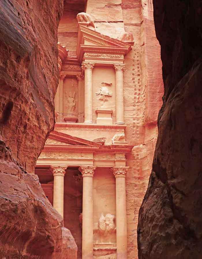 View-of-the-Treasury-through-the-Siq-at-Petra-in-Jordan-Optmised