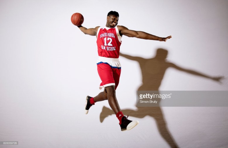 Spartanburg Day School Zion Williamson High School Basketball: Portrait of Spartanburg HS Zion Williamson (12) posing in dunk action during photo shoot at Spartanburg Day School. Spartanburg, SC 8/1/2017 CREDIT: Simon Bruty (Photo by Simon Bruty /Sports Illustrated/Getty Images) (Set Number: SI963 TK1 )