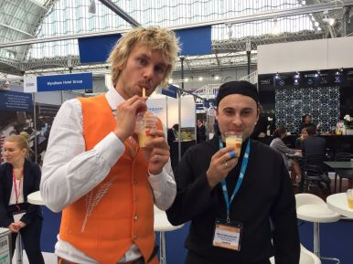 opting for a healthy smoothie at Accor Hotels at The Meetings Show UK
