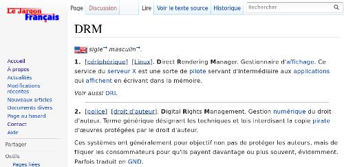 Définition DRM sur Le Jargon Français