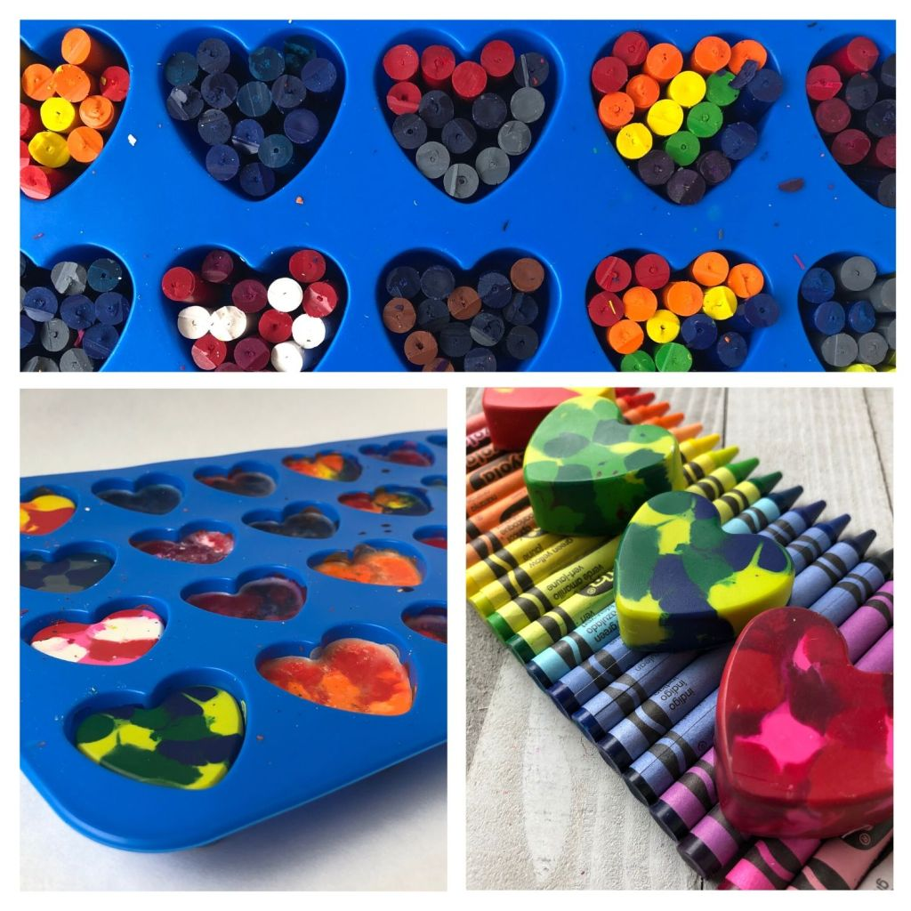 Creating heart shaped crayons in silicon mold