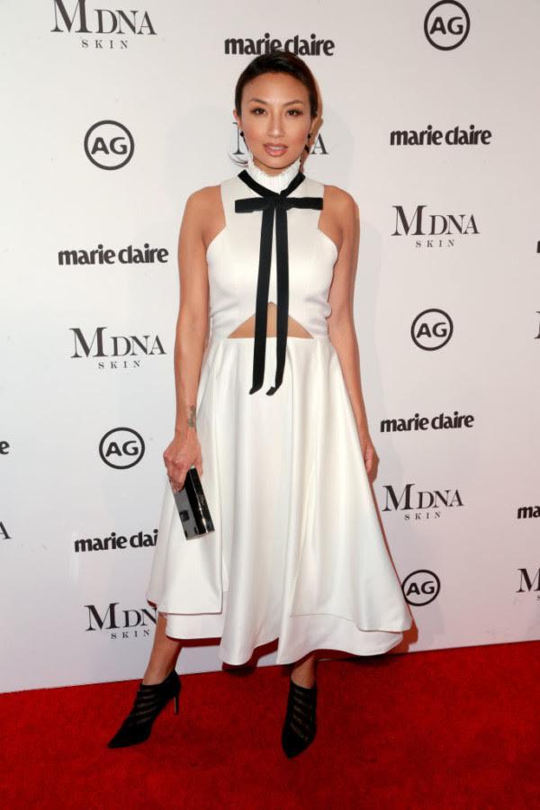 Jeannie Mai wearing Peggy Hartanto via Rich Fury/Getty Images