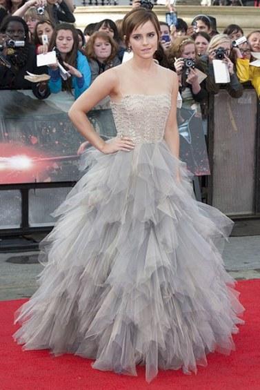 At the last Harry Potter premiere wearing Oscar de la Renta via Getty Images