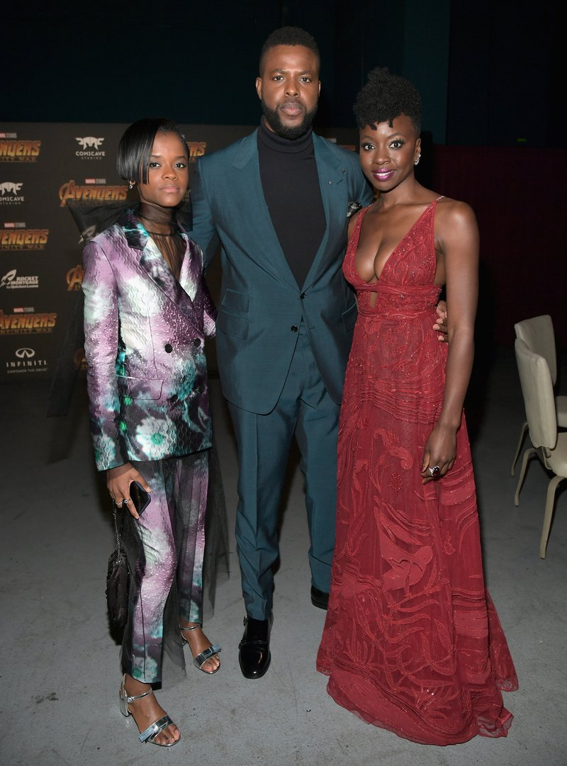 Letitia Wright, Winston Duke, and Danai Gurira at an Avengers event. Photo by Charley Gallay/Getty Images