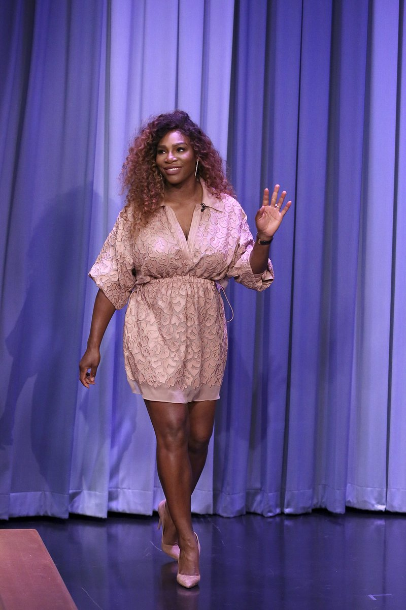 Serena Williams on The Tonight Show starring Jimmy Fallon. Photo via NBC/Getty Images
