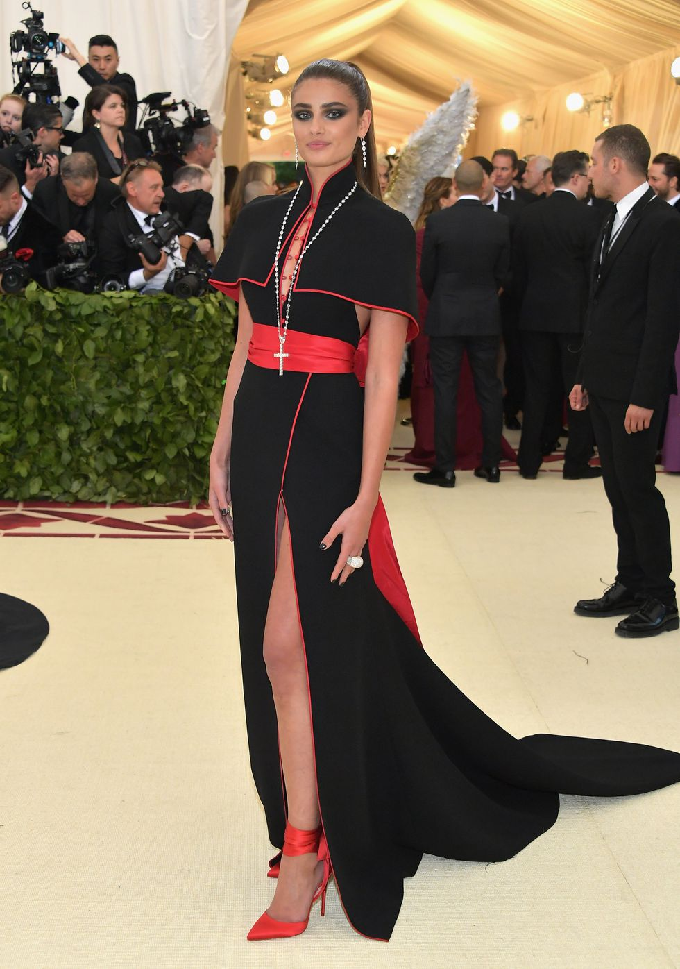 Taylor Hill wearing Diane Von Furstenberg via Getty Images