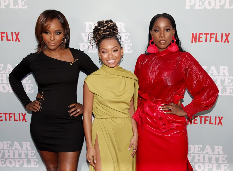 Antoinette Robertson, Logan Browning and Ashley Blaine Featherson attended the screening of 'Dear White People' season 2 in Hollywood, California. Photo by Tibrina Hobson/Getty Images