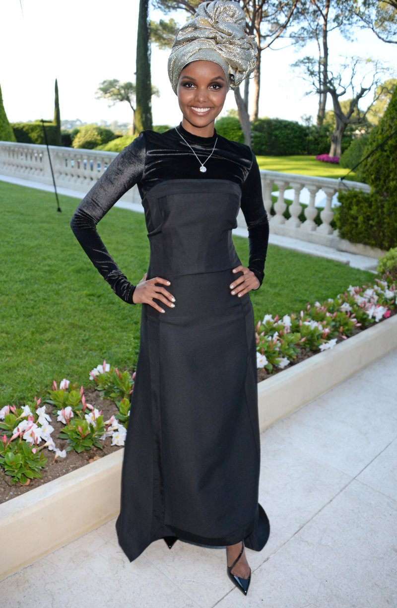 Halima Aden arrives at the amfAR Gala Cannes 2018 at Hotel du Cap-Eden-Roc. Photo by Dave Benett/WireImage for amfAR