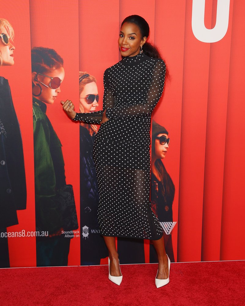 Kelly Rowland wears a Misha Collection dress to the Ocean's 8 Sydney Premiere in Sydney. Photo by Don Arnold/WireImage