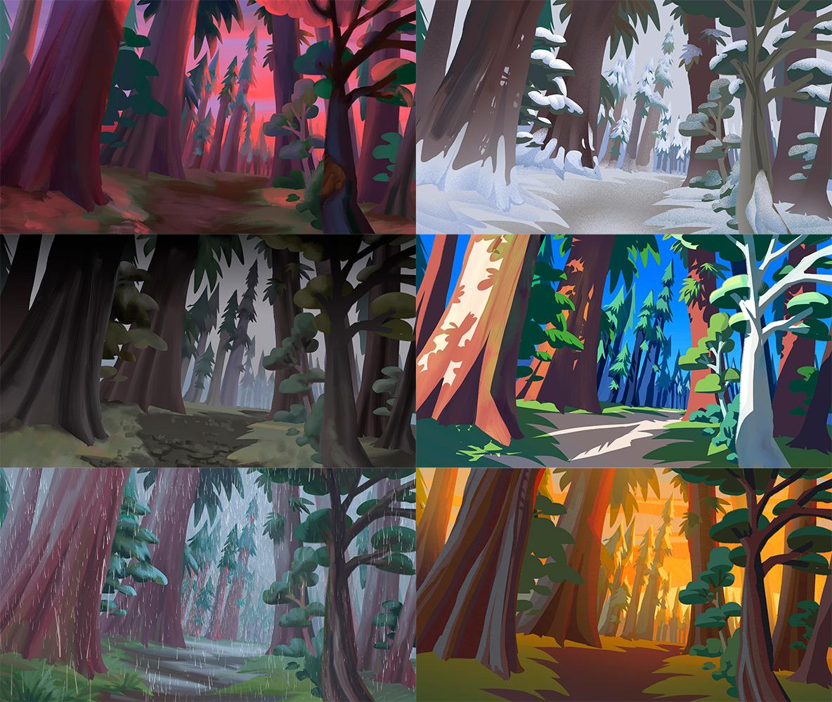 déclinaison de couleurs sur un paysage