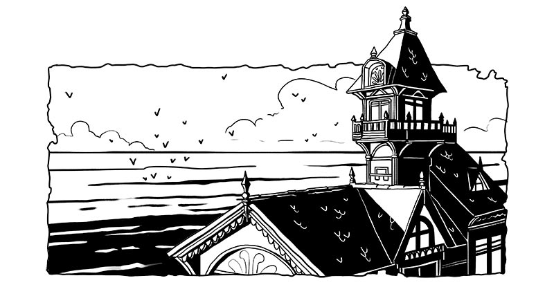 Tête de chapitre encrée en clair obscure - des corbeaux sinistres . tête de chapitre d'Annabel Pickering and the Sky pirate, the fantastical contraption écrit par Brétigne shaffer, illustré par Mefisheye