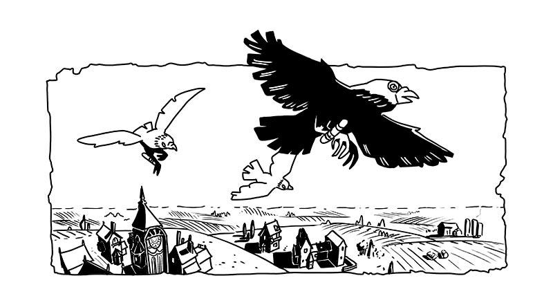 Tête de chapitre encrée en clair obscure - des oiseaux messagés au dessus du paysage anglais. tête de chapitre d'Annabel Pickering and the Sky pirate, the fantastical contraption écrit par Brétigne shaffer, illustré par Mefisheye