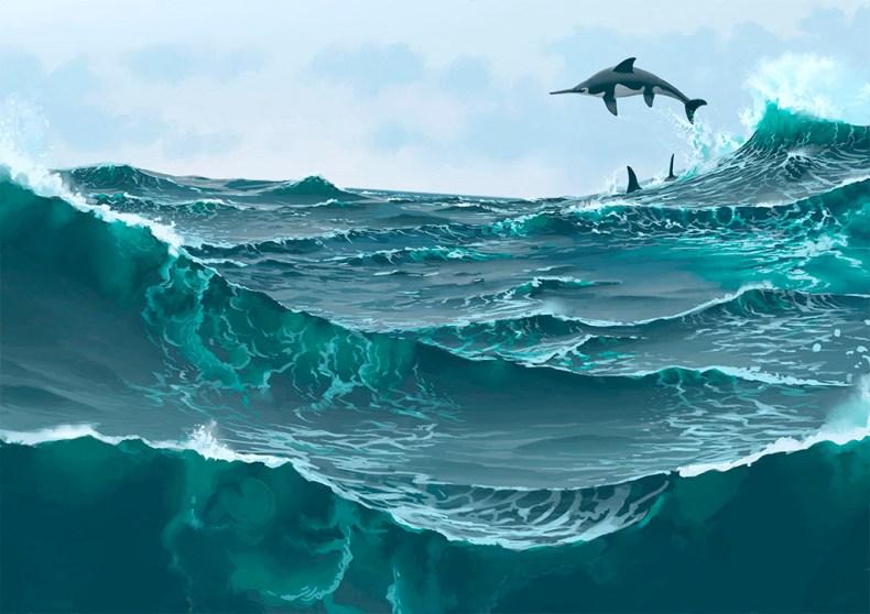 ichtyosaurus simon stalenhag dinosaure