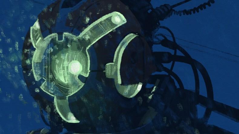 illustration robot nuit simon stalenhag gros plan