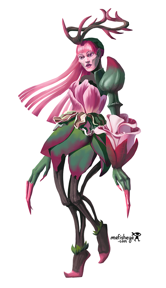 Illustration en couleur du personnage d'Aslinn, concept de personnage créé pour le jeu de plateau Argox.