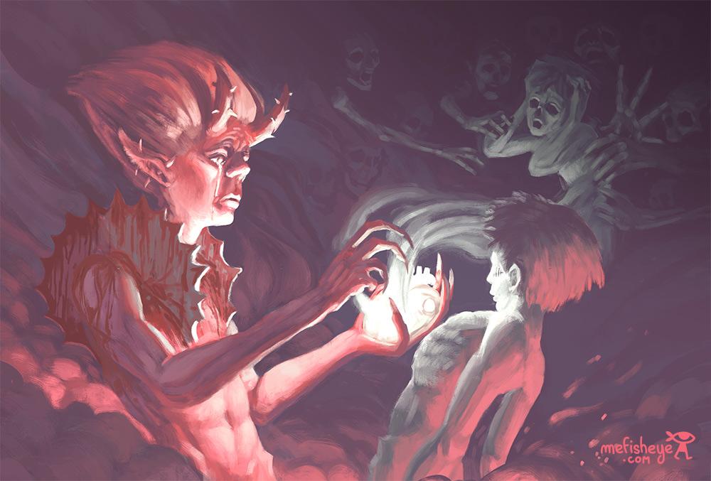 Illustration de carte représentant un démon chargé de récupérer l'âme d'un défunt.