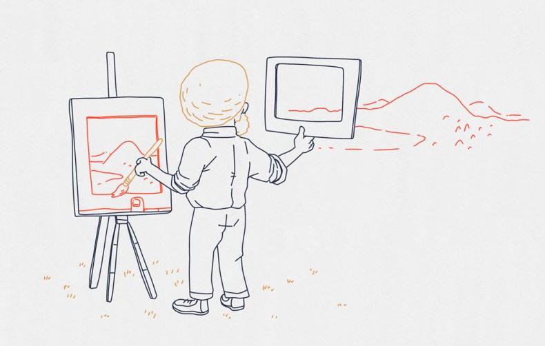 Un artiste peint un tableau en regardant à travers un polaroid troué.