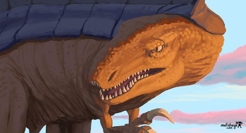 Gros plan d'un crâne de dinosaure durant un crépuscule. Animal réaliste