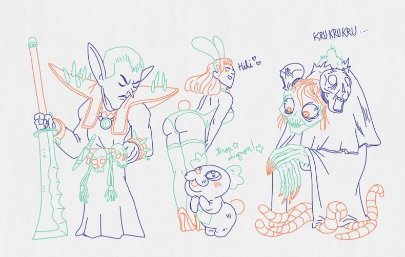 dessins de personnages n'allant pas bien ensembles