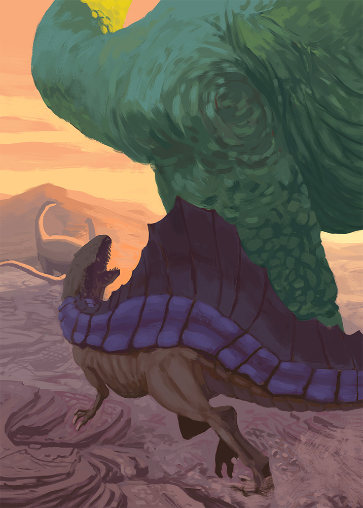 scène naturaliste d'un dinosaure carnivore en train de chasser des dinosaures géants.