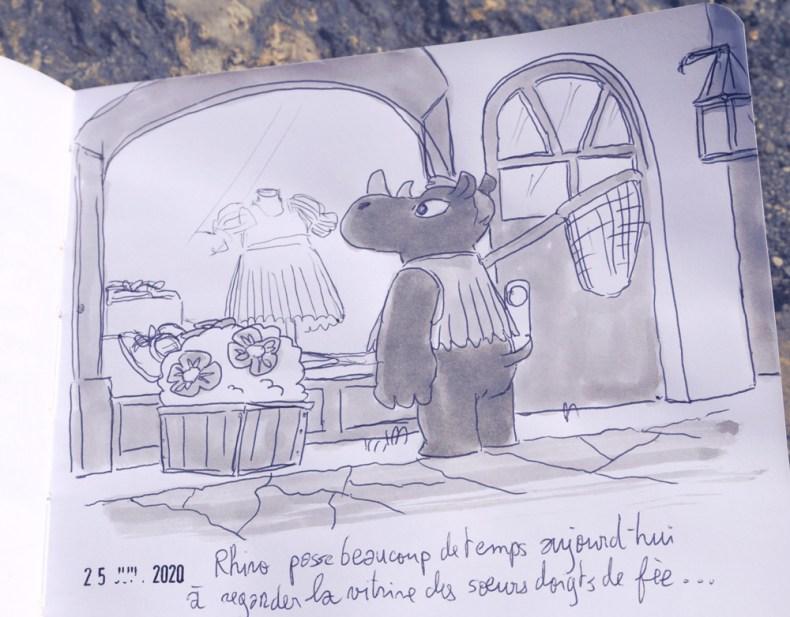 Fan art animal crossing. Le personnage de Rhino regarde le contenu d'une vitrine d'un magasin de vêtements.
