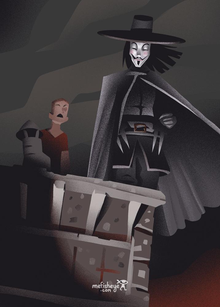 Dessin du personnage de V pour vendetta conçu au cours du défis du 6fanartchallenge