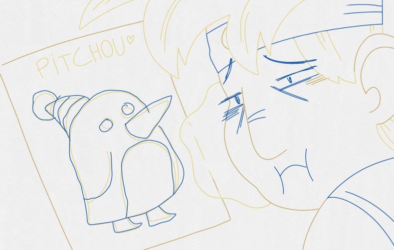 Le dessinateur est triste. il n'arrive pas encrer correctement son dessin pour enfant.