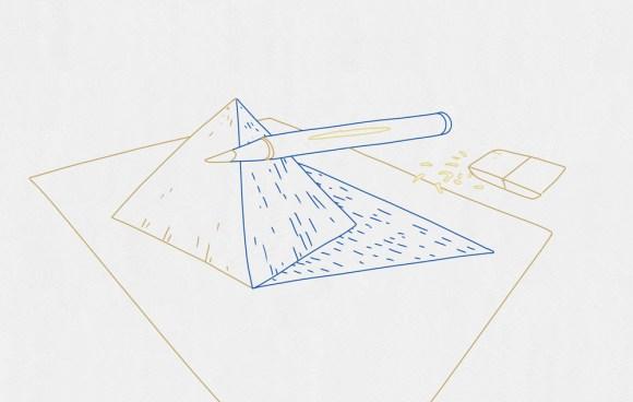 dessin d'effet optique sur une pyramide