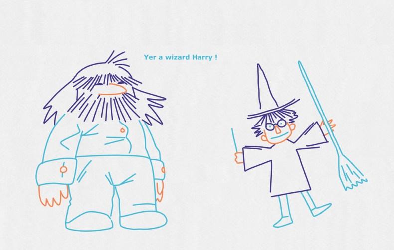 Dessin enfantin des personnages d'Hagrid et du jeune sorcier Harry Potter