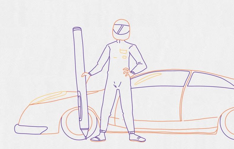 Pilote de course symbolisant la vitesse d'un dessin numérique obéissant aux règles du speed painting.