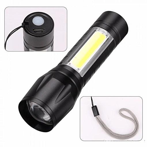 Linterna Recargable USB Botón y Correa