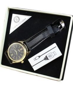 Reloj con USB y Encendedor color Dorado con Correa Negra