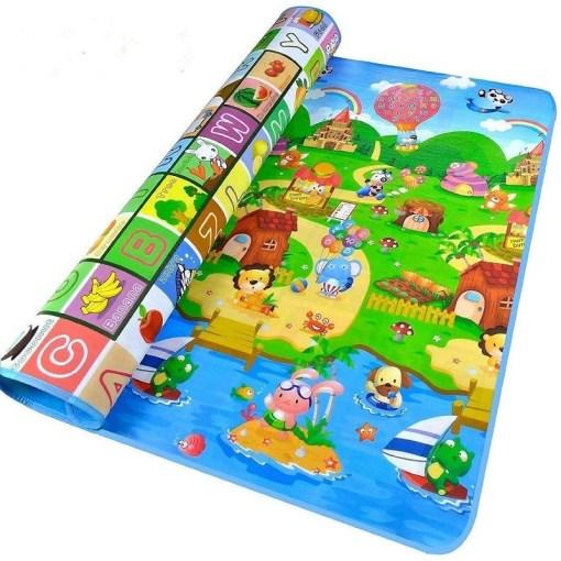 Alfombra para gateo de bebe con letras del abecedario y dibujos mega bahía