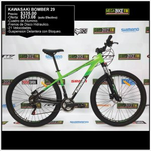Bicicleta-guayaquil-mtb-montañera-talla-mega-bike-store-bike-shimano-aluminio-kawasaki-bomber-aro-29-negro-verde