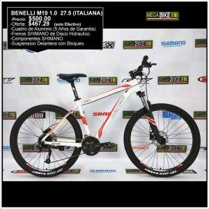 Bicicleta-guayaquil-mtb-montañera-talla-mega-bike-store-bike-shimano-benelli-m19-1.0-adv-aluminio-aro-27.5-rojo-blanco