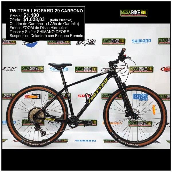 Bicicleta-guayaquil-mtb-montañera-talla-mega-bike-store-bike-shimano-twitter-leopard-carbono-aro-29-negro-amarillo