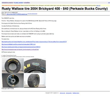 Rusty Wallace tire 2004 Brickyard 400 - $40 (Perkasie Bucks County)